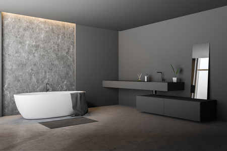 Corner of modern bathroom with gray and concrete walls, concrete floor, white bathtub with towel on it and long gray sink with mirror. 3d rendering Archivio Fotografico - 117070857