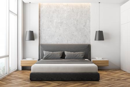 Vista frontale della camera da letto moderna con pareti bianche e in pietra, pavimento in legno, ampia finestra, letto matrimoniale grigio con comodini in legno e armadio bianco. rendering 3d