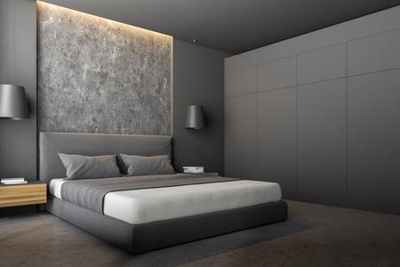 Angolo della camera da letto moderna con pareti grigie e in pietra, pavimento in pietra, letto matrimoniale grigio con comodini in legno e armadio grigio. rendering 3d
