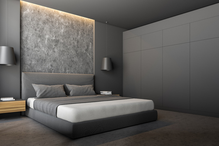 Corner of modern bedroom with gray and stone walls, stone floor, gray master bed with wooden bedside tables and gray wardrobe. 3d rendering