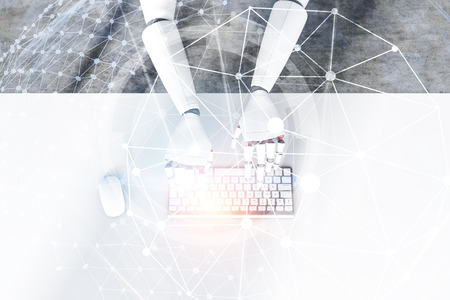 Top view of white robot hands typing on computer keyboard standing on white table. Double exposure of planet hologram and hud interface. 3d rendering toned image