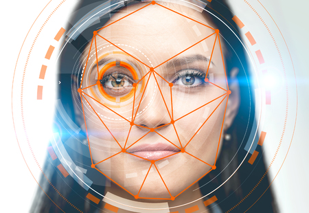 Face of beautiful young woman with colorful hud interface near her eye and biometric verification interface. Concept of face recognition and hi tech. White background. Toned image double exposure