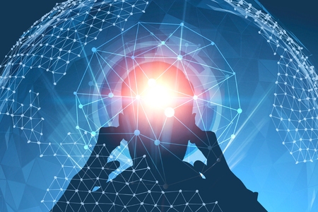 Silhouette of young man thinking hard standing over blue background with hud interface and planet hologram. Toned image double exposure