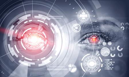 Close up of woman eyes with glowing hud interface and business infographics. Concept of hi tech. Toned image double exposure