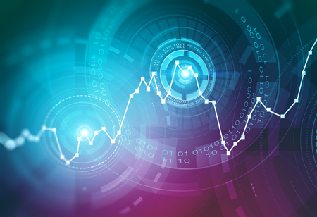 Glowing blue graph and immersive HUD interface over blue and purple background. Concept of stock market and fintech. 3d rendering toned image double exposure