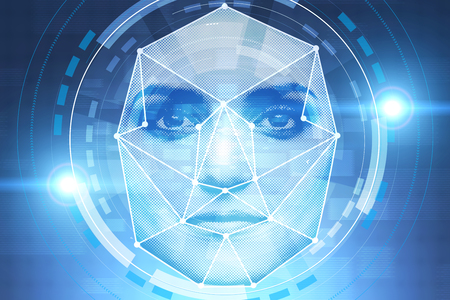 Pixelated face of young woman with face recognition technology and HUD interface around it over blue background. Concept of hi tech. Toned image 免版税图像