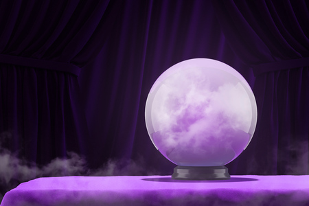 Crystal magic ball standing on purple table with dark purple curtains in background. Concept of prediction of future and mystery. 3d rendering Stock Photo