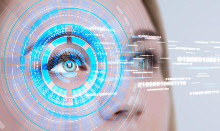 Close up of blonde woman face with HUD around eye and lines of code over white background. Concept of face recognition. Banco de Imagens