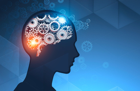Silhouette of man head with brain with gears and cogs inside it over dark blue background. Concept of thinking. 3d rendering mock up toned image