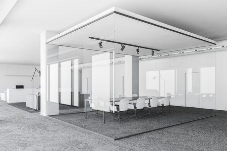 Corner of office meeting room with white and glass walls, gray carpet on the floor and long gray table with white chairs. 3d rendering