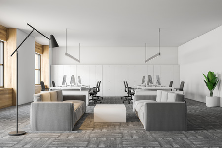 Interior of office waiting room with white and wooden walls, gray carpet on the floor and two light gray sofas near white coffee table. 3d rendering Stock Photo