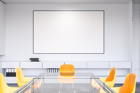 Interior of office meeting room with white walls, concrete floor, long glass table with yellow chairs and horizontal poster. 3d rendering mock up