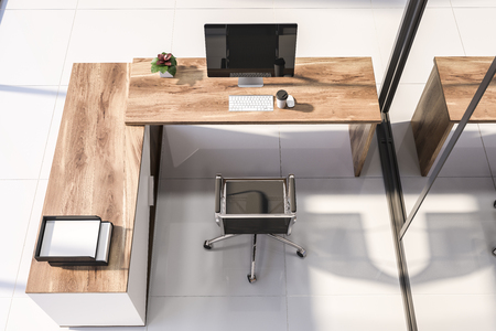 Top view of wooden and white manager office table with computer on it and metal chair near it standing in office with white tiled floors. 3d rendering