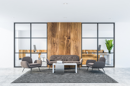 Interior of office waiting room with white and wooden walls, concrete floor, gray armchairs and sofa standing near white coffee table on gray carpet. 3d rendering
