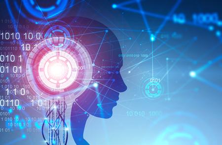 Silhouette des Roboterkopfes mit immersiver HUD-Schnittstelle und Codezeilen auf blauem Hintergrund. Konzept des maschinellen Lernens und der KI. Getöntes Bild