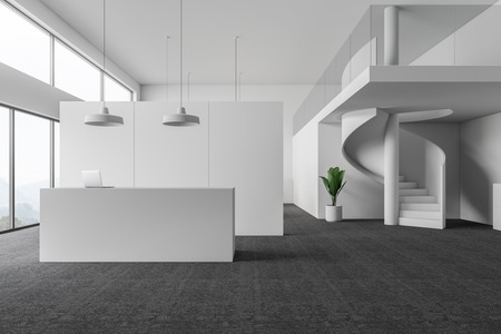 Interior of modern office waiting room with white walls, carpeted floor, panoramic windows and minimalistic reception desk with laptop on it. Stylish staircase to second floor. 3d rendering