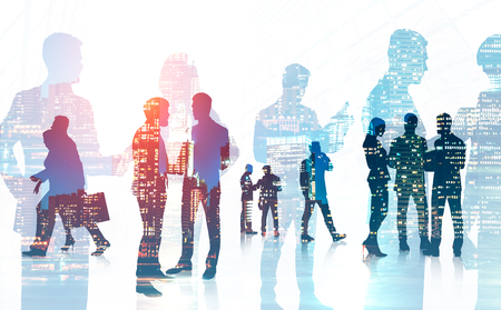 Silhouettes of business team members walking and communicating over night city background. Toned image double exposure of business people