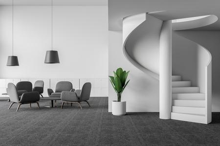 Intérieur du coin salon du bureau avec murs blancs, moquette au sol, fauteuils gris debout près de tables basses rondes et escalier élégant. rendu 3D