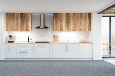 Modern disign kitchen interior with window. 3d Render.