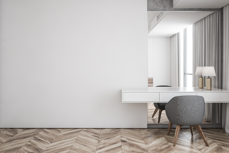 Interior of modern living room with white walls, wooden floor, makeup table with lamp, mirror and gray chair. Mock up wall. 3d rendering Foto de archivo - 118900895