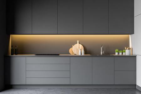Modern disign kitchen interior with window. 3d Render. Standard-Bild - 118900911