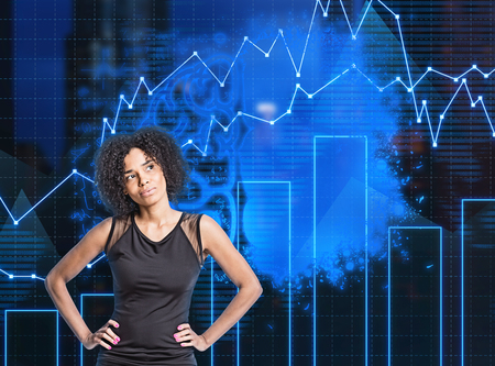 Thoughtful African American woman standing over dark blue background with blurred brain sketch and business graphs. Concept of business strategy