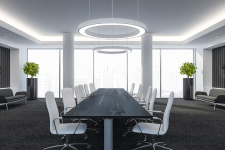 Modern conference room with furniture, big windows and city view 3D Render