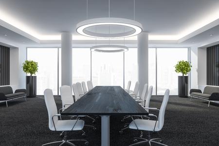 Moderner Konferenzraum mit Möbeln, großen Fenstern und Stadtblick 3D-Rendering