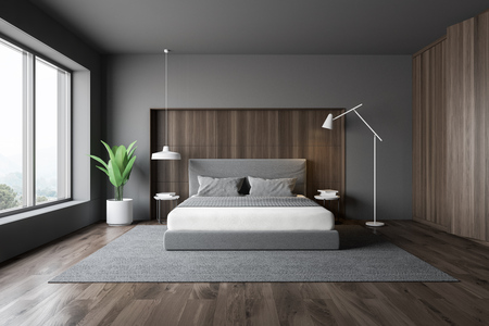 Stylish bedroom interior with white bedding of king size bed in fashionable. 3d render.