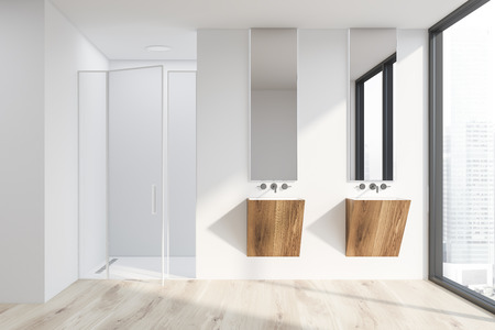 Interior of modern bathroom with white walls, wooden floor, large window, two wooden sinks with vertical mirrors and shower with glass door. 3d rendering Standard-Bild - 119444424