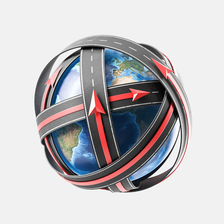 Satellite navigation concept with road and globe. 3d rendering Elements of this image furnished by NASA