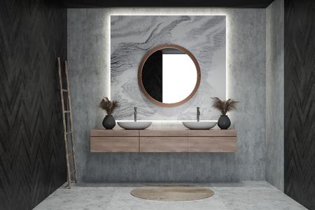 Modern design bathroom interior with circle mirror. 3d rendering