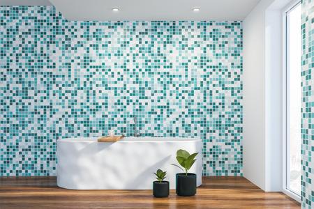 Modern light bathroom interior. Loft style.  3d rendering