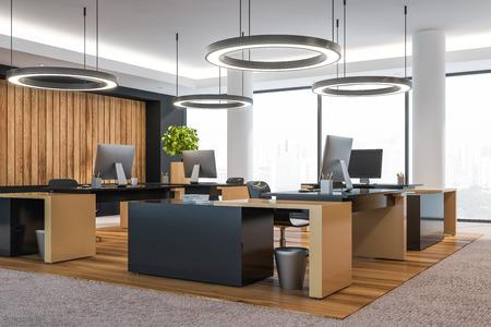 Interior de oficina moderna con muebles. Representación 3D.