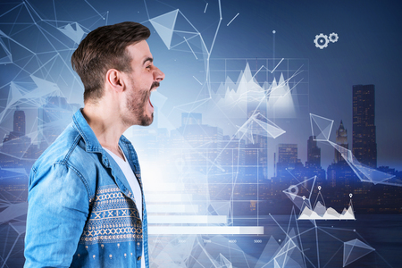 Side view of man in casual clothes screaming over city background with business infographics and network interface. Concept of tiredness of technology. Toned image