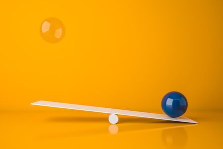White seesaw with blue and glass balls standing in bright yellow room. Concept of balance and weight. 3d rendering