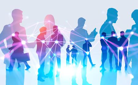Sagome di uomini d'affari che comunicano su sfondo bianco con doppia esposizione dell'interfaccia di connessione. Concetto di risorse umane e tecnologia digitale. Immagine tonica