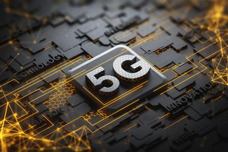 Schwarze Platine mit 5G- und Telekommunikationswörtern und Doppelbelichtung des gelben Netzwerkhologramms. Konzept von Hightech. 3D-Rendering Doppelbelichtung Standard-Bild