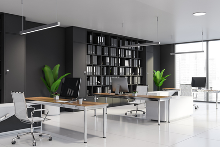 Modern manager office interior with gray walls, tiled floor, wooden computer desks and gray bookcases with folders. 3d rendering Reklamní fotografie