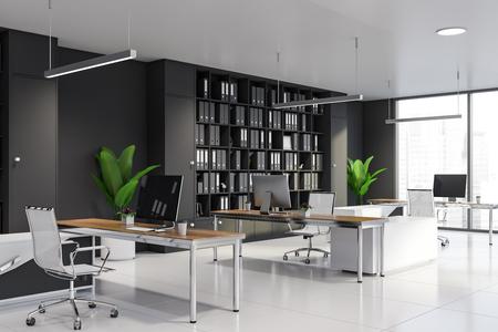 Nowoczesne wnętrze biura kierownika z szarymi ścianami, podłogą wyłożoną kafelkami, drewnianymi biurkami komputerowymi i szarymi regałami z folderami. renderowanie 3d Zdjęcie Seryjne
