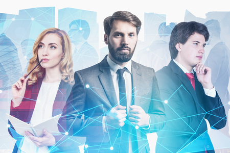 Team of pensive and inspired young business leaders over cityscape background with double exposure of business people and internet interface. Toned image