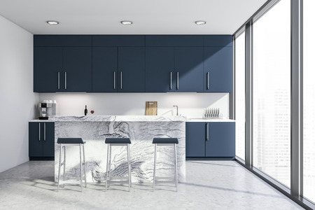 Interior of stylish kitchen with white walls, concrete floor, panoramic windows and dark blue countertops and cupboards. White bar with stools. 3d rendering