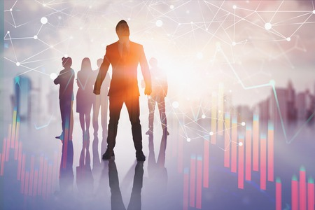 Confident businessman standing with his team over blurred city background with immersive network interface and graphs. Concept of telecommunication. Toned image double exposure
