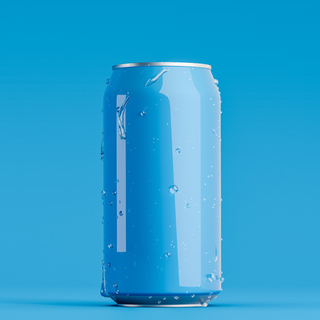 Blue blank aluminum can with drops of water on it standing on blue surface. Concept of fizzy drink or beer packaging. 3d rendering