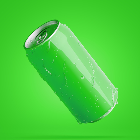 Green blank aluminum can with drops of water on it over green background. Concept of fizzy drink or beer packaging. 3d rendering