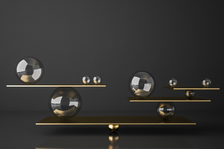 Gold balanced seesaw with glass spheres of different sizes over gray background. Concept of balance. 3d rendering