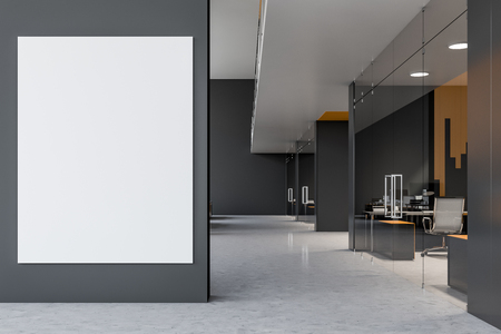 Large vertical mock up poster hanging on office wall in lobby. Gray and yellow rooms with glass doors. Concept of advertising and marketing. 3d rendering Standard-Bild - 121167314