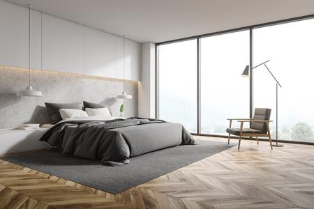 Esquina del dormitorio panorámico con paredes blancas y de hormigón, piso de madera, cama principal gris con mesitas de noche y sillón gris con lámpara de pie encima. Representación 3d