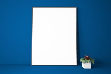 Vertical mock up poster frame standing near house plant on dark blue bookshelf. Concept of advertising and marketing. 3d rendering