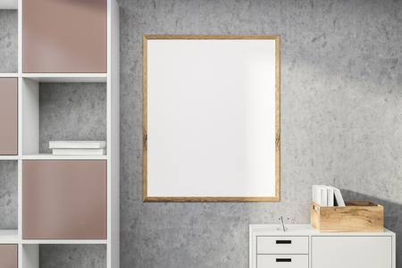 Blank mock up poster with wooden frame hanging on stone wall in room with white and pink bookcase and cabinet. Concept of advertising. 3d rendering